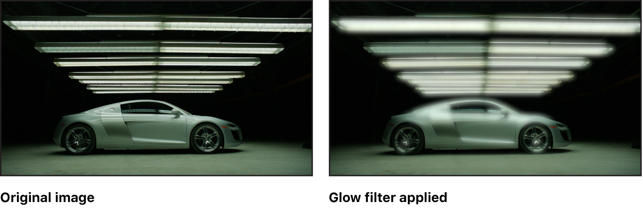 Canvas showing effect of Glow filter