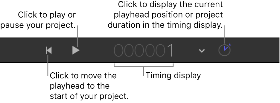 Transport controls in the timing toolbar