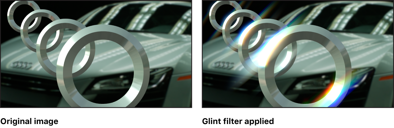 Canvas showing effect of Glint filter