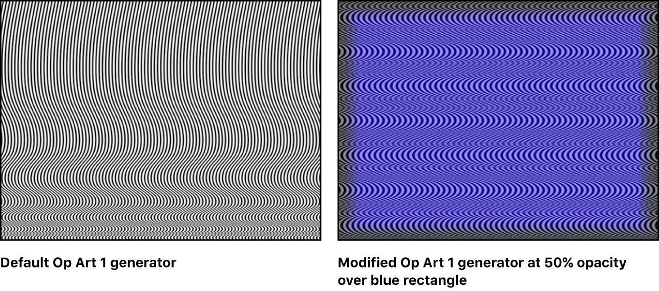 Canvas showing Op Art 1 generator alone and combined with a blue rectangle