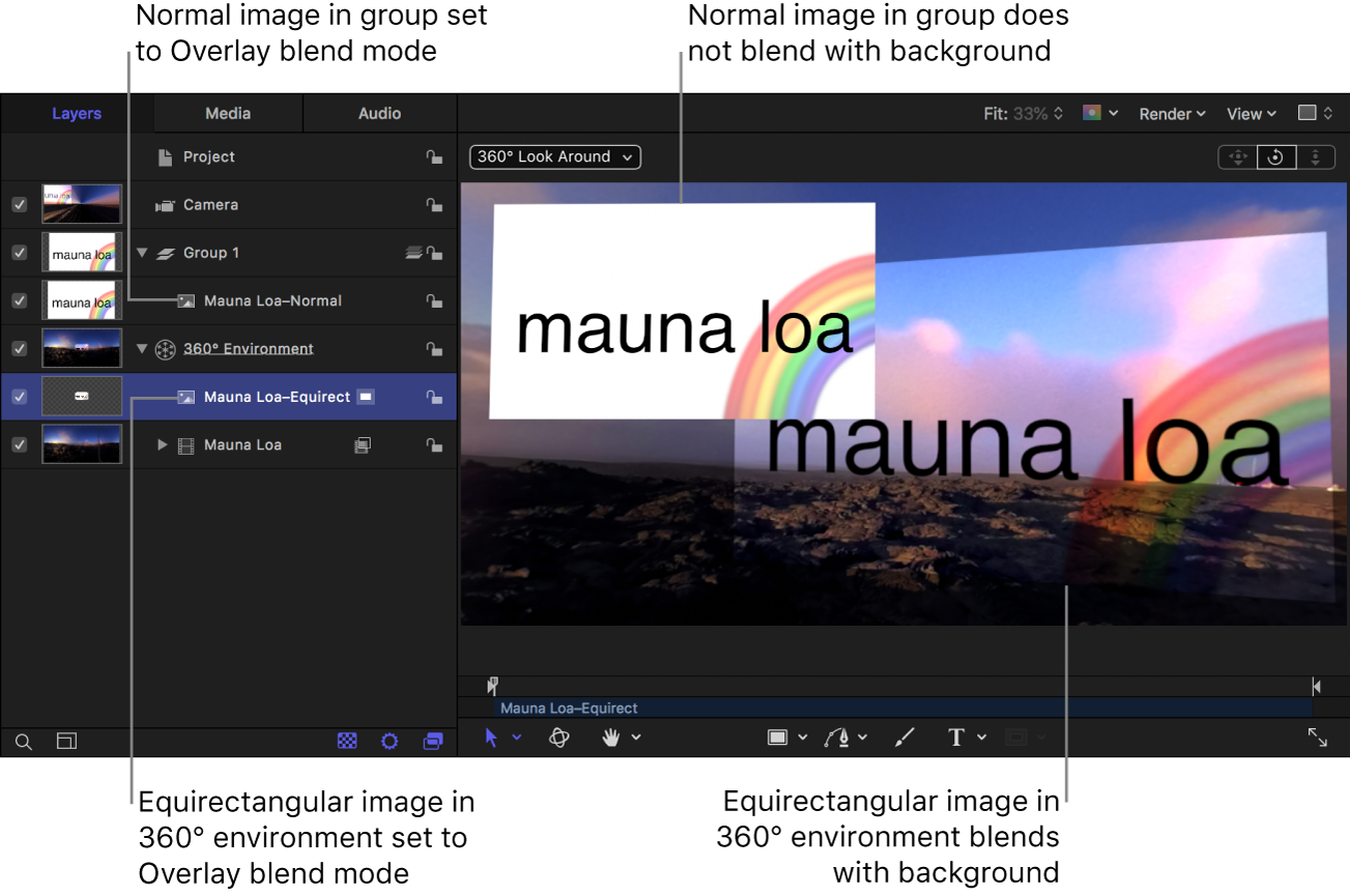 Canvas showing the Add blend mode having no effect on image in a group and the Add blend mode working correctly on an image in a 360° environment