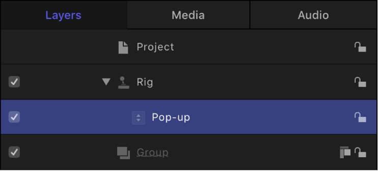 Layers list showing selected widget