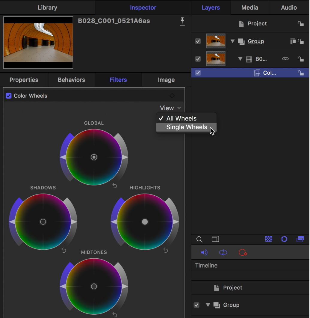 Color Wheels controls in the Filters Inspector showing the View pop-up menu
