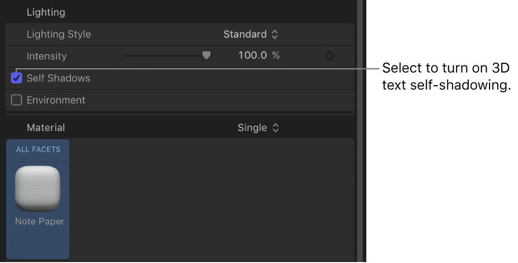 Self Shadows parameter in the Appearance pane of the Text Inspector
