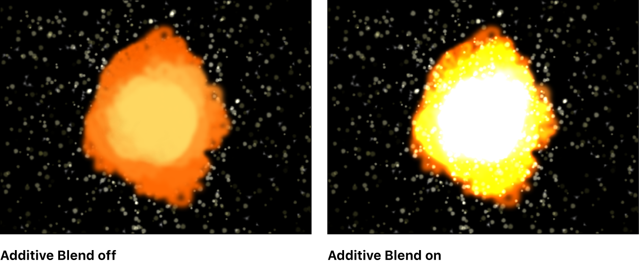 Canvas showing effect of Additive Blend setting