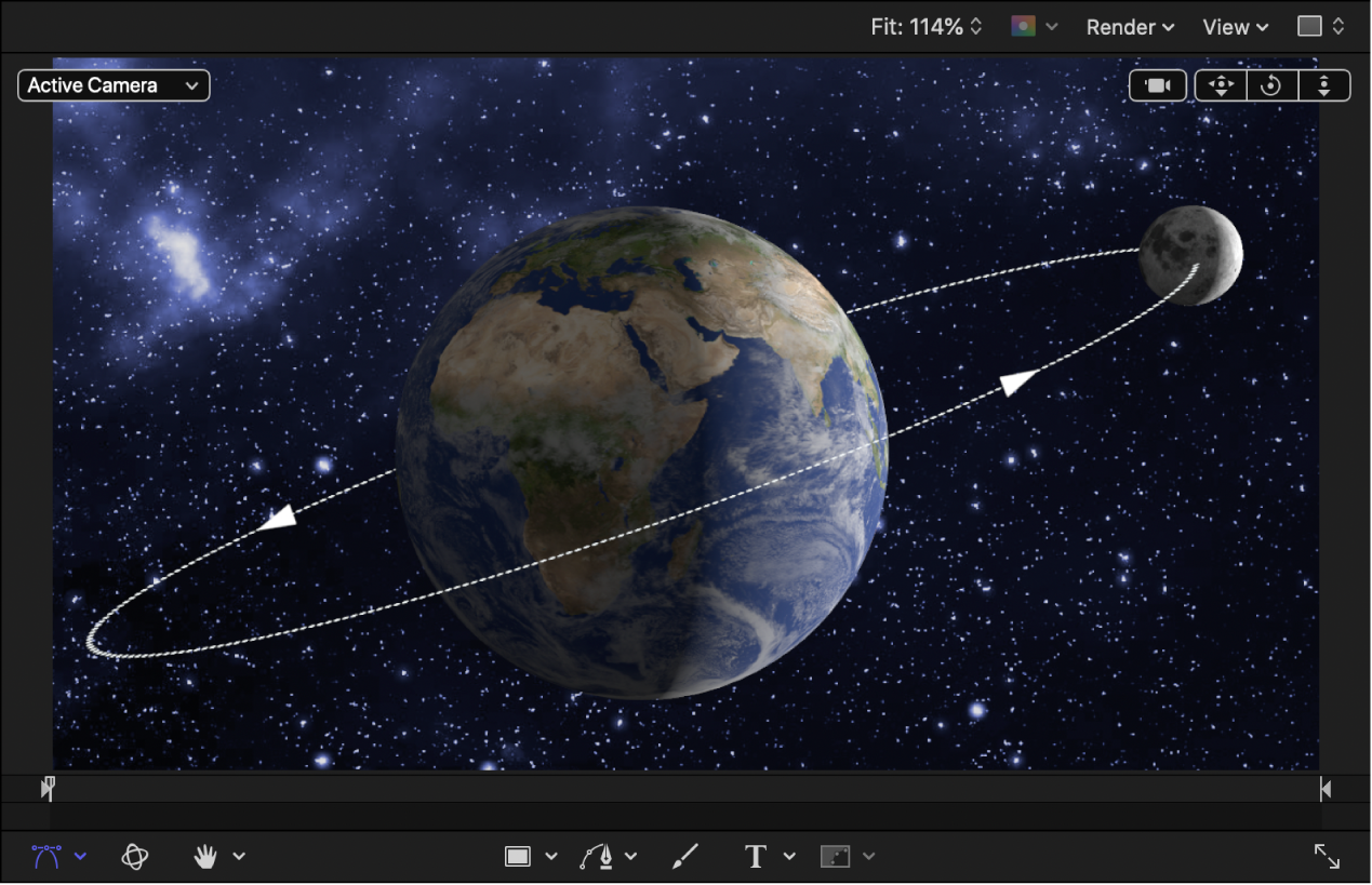 Earth and moon 3D objects in the canvas