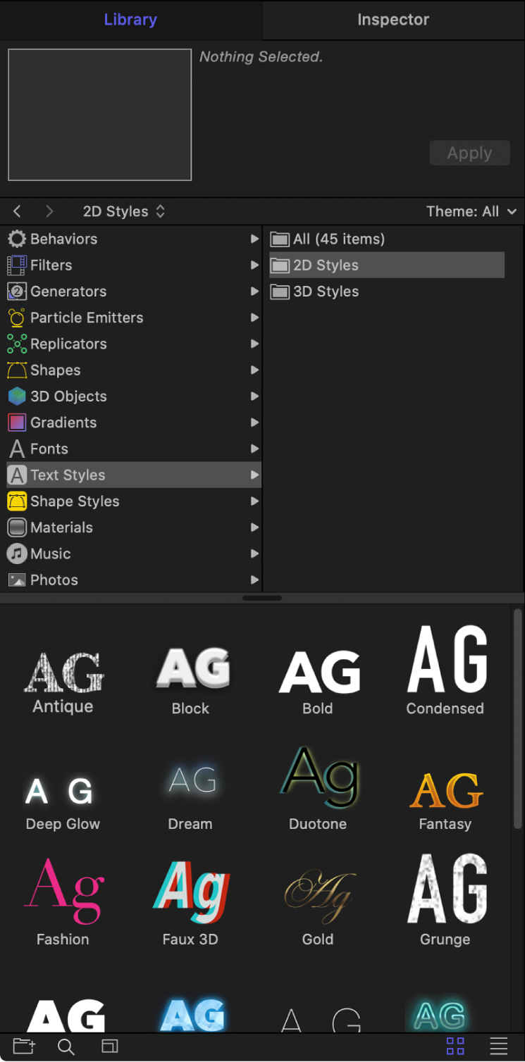 Library showing selected 2D Text Styles folder