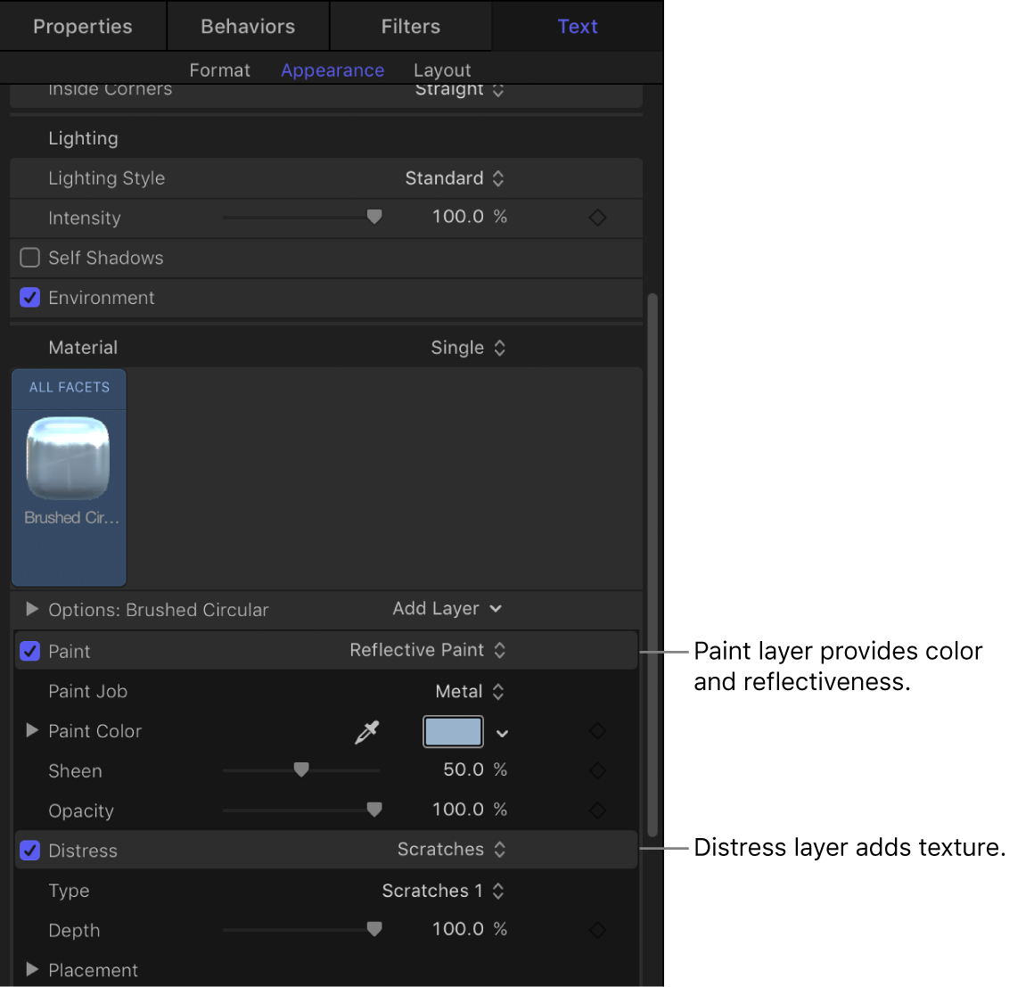 3D Text Inspector showing material layers