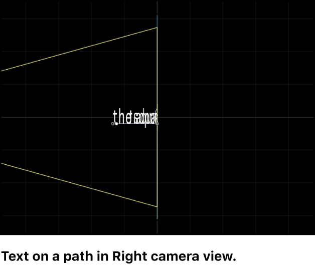Canvas showing Right camera view of text on a 3D path