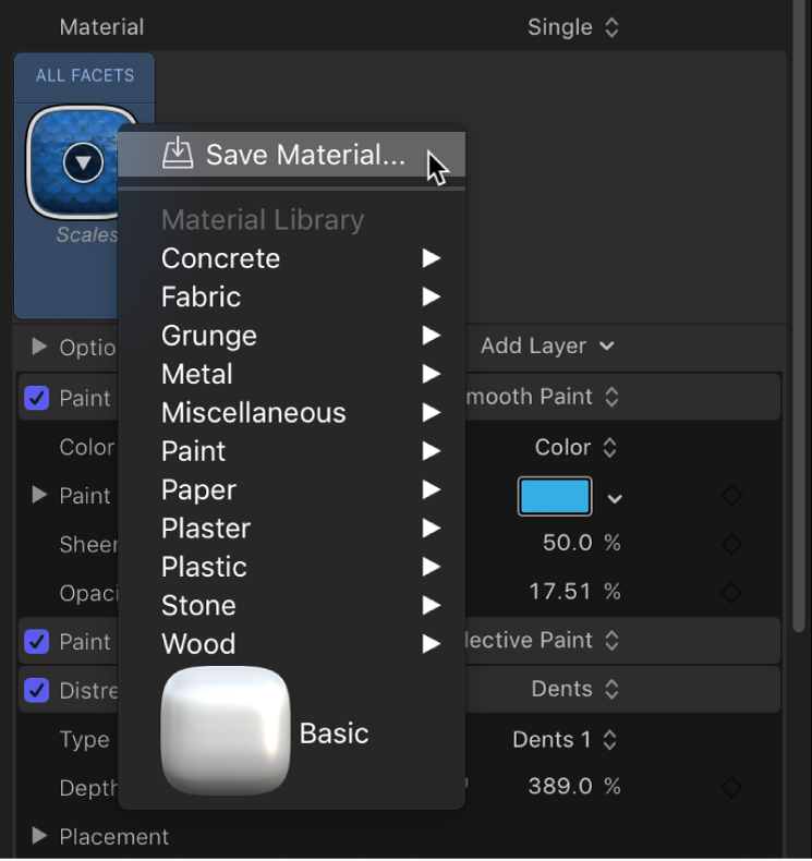3D Text Inspector showing Save Material option in the Material Preset pop-up menu