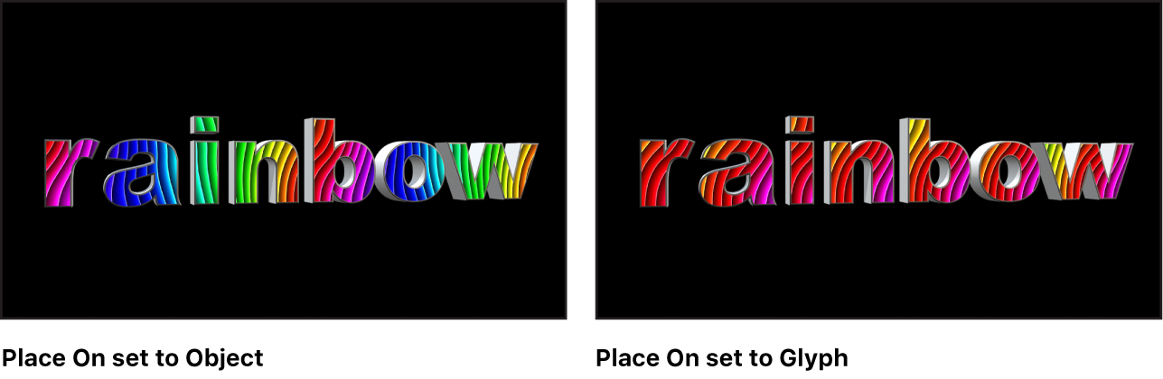 Canvas showing 3D text with mapped image Place On parameter set to Object and set to Glyph