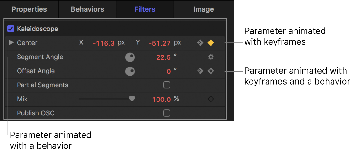 Inspector showing a behavior icon in a parameter row, a keyframe icon in a parameter row, and a behavior icon within a keyframe icon in a parameter row