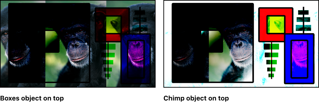 Canvas showing the boxes and the monkey blended using the Color Burn mode