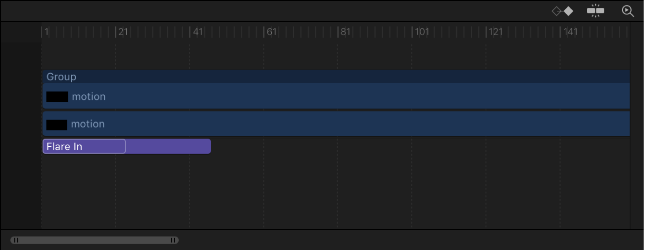 Timeline showing difference between length of the behavior and text object to which it is applied