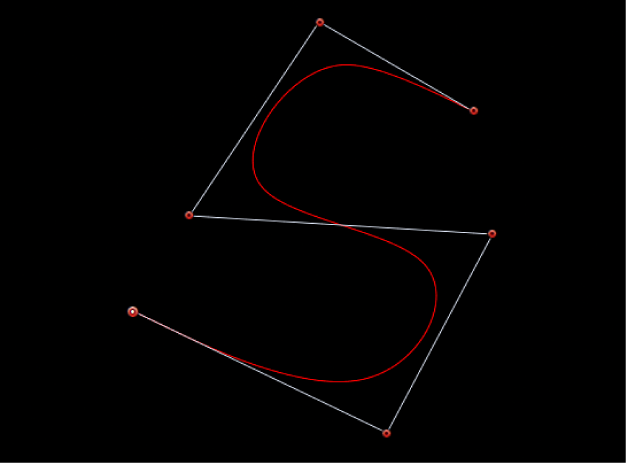 Canvas showing S-curve created with B-Spline handles
