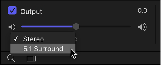 Audio list showing the output channel pop-up menu in the Output audio track area