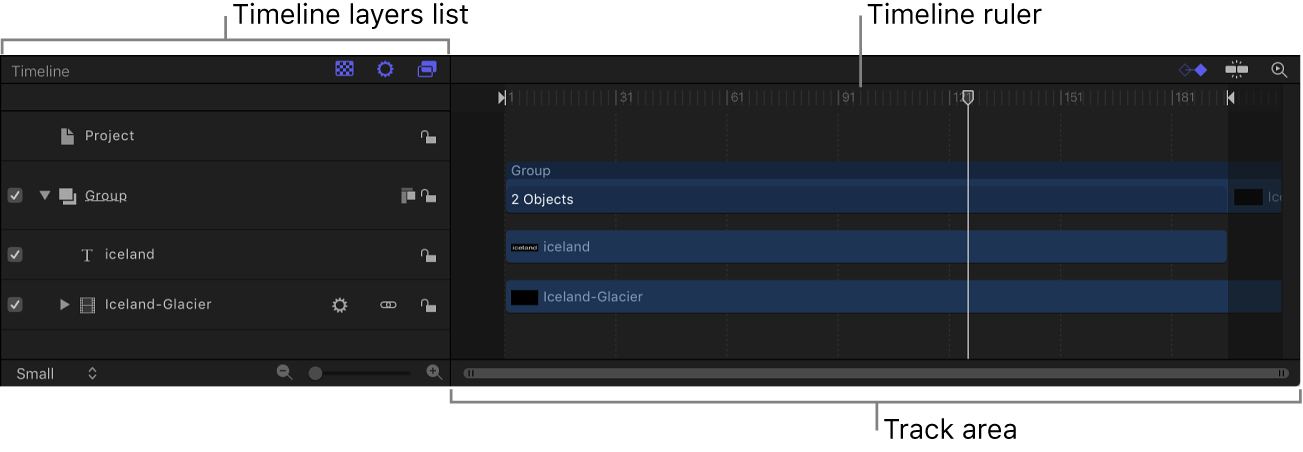 Timeline showing Timeline layers list, ruler, and track area