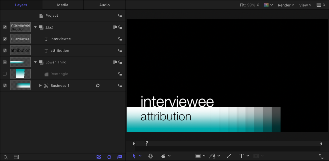 Layers list and canvas showing sample lower-third project