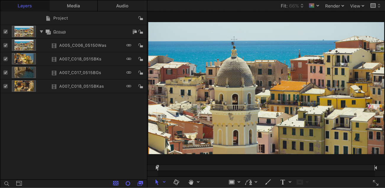Imported movie clips in the canvas and in the Layers list