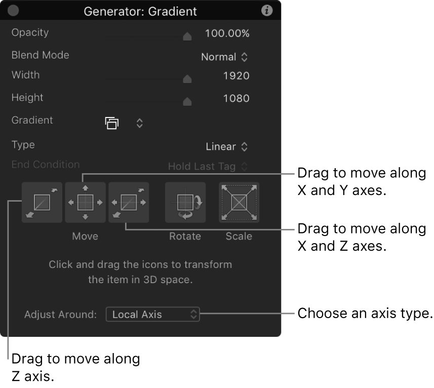 HUD showing 3D controls