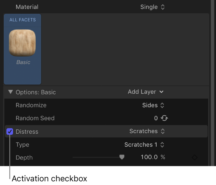 3D Text Inspector showing activation checkbox for a material layer