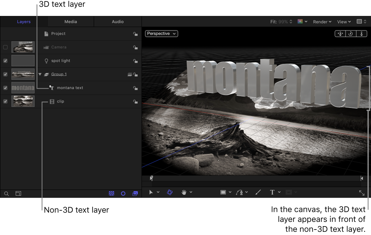 3D text layer above the non-3D text layer in the Layers list; non-3D text layer appears in behind the 3D text layer in the canvas.