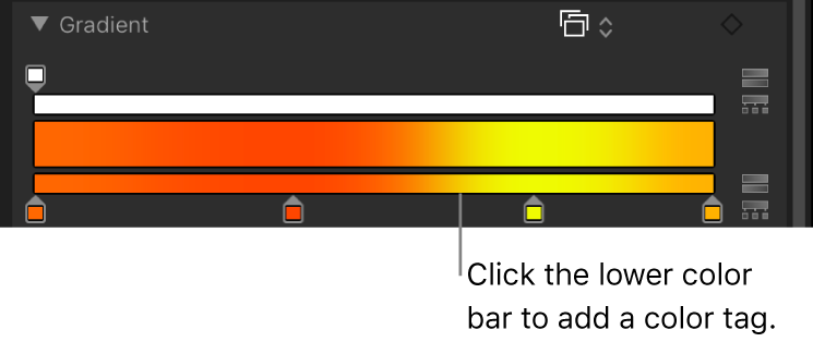 Gradient editor showing new color tag
