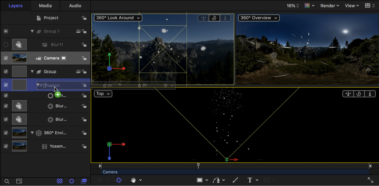 Dragging the camera Position parameters from the Inspector to the particle emitter in the Layers list