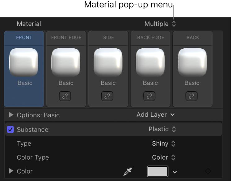 3D Text Inspector showing multiple materials pop-up menu