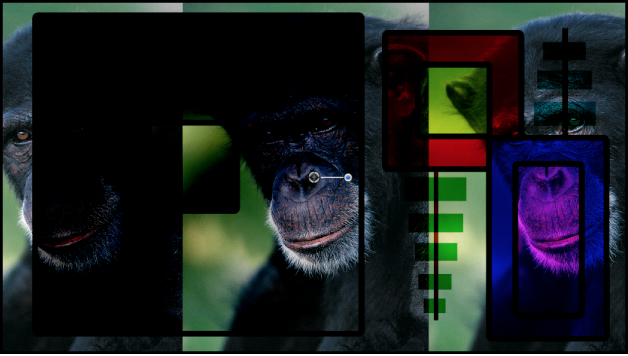Canvas showing the boxes and the monkey blended using the Linear Burn mode