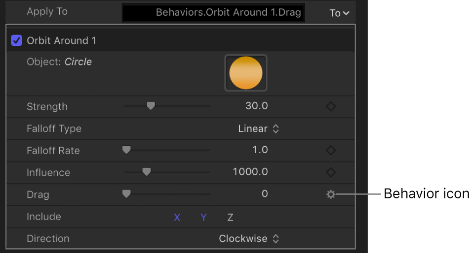 Behavior icon over the Keyframe button of affected parameter