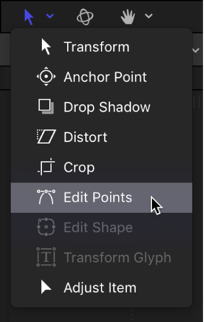Selecting the Edit Points tool from the transform tools pop-up menu in the canvas toolbar