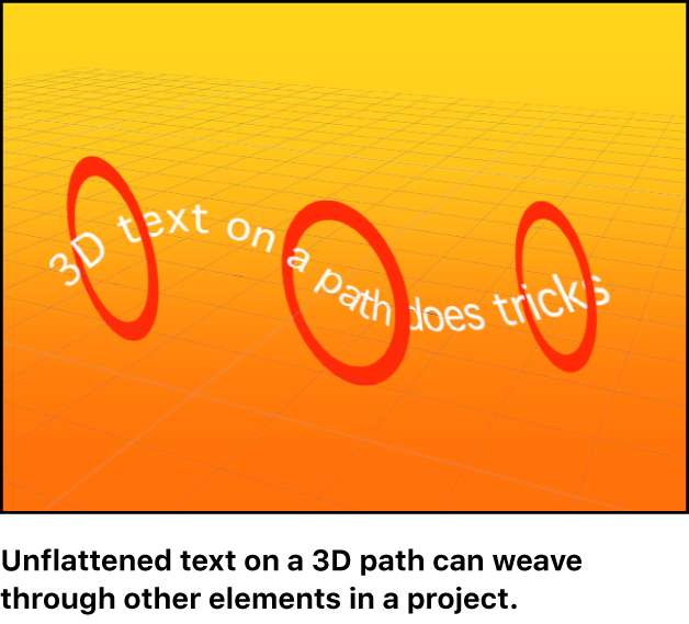 Canvas showing text object weaving in and out of other elements in a 3D group