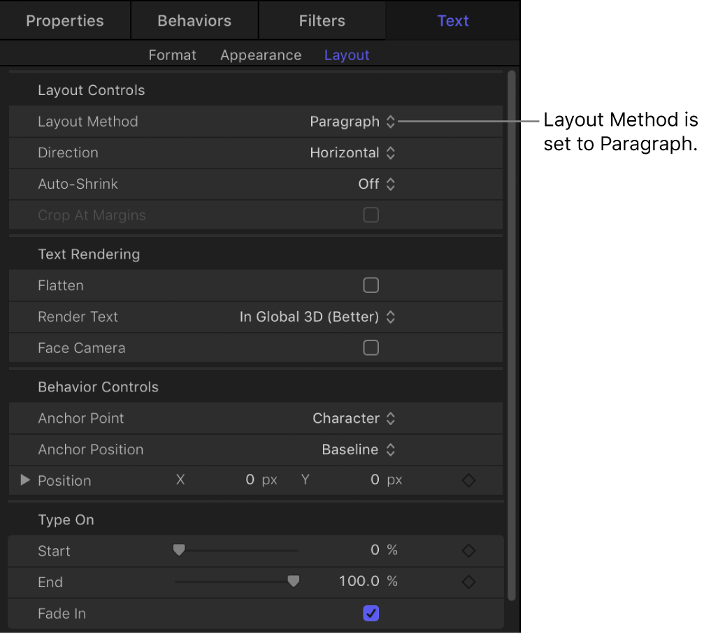 Layout Method pop-up menu set to Paragraph and active Margin controls, in Layout pane of Text Inspector