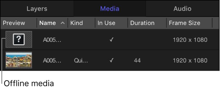 Media list showing offline media