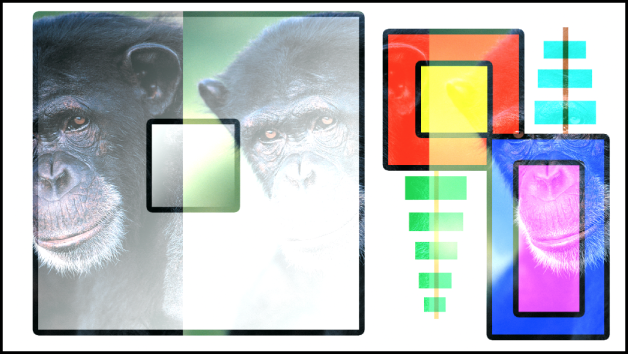 Canvas showing the boxes and the monkey blended using the Linear Dodge mode