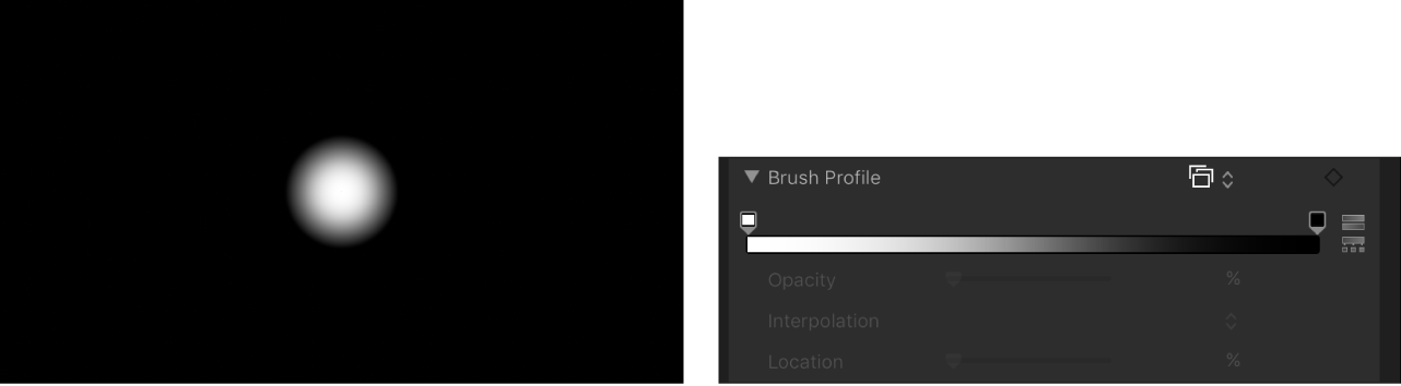 Canvas and Inspector showing default Brush Profile gradient
