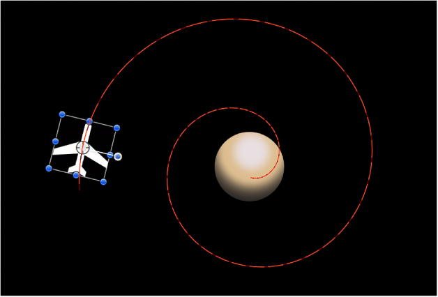 Canvas showing animation path created by combining Move behavior with Orbit Around behavior