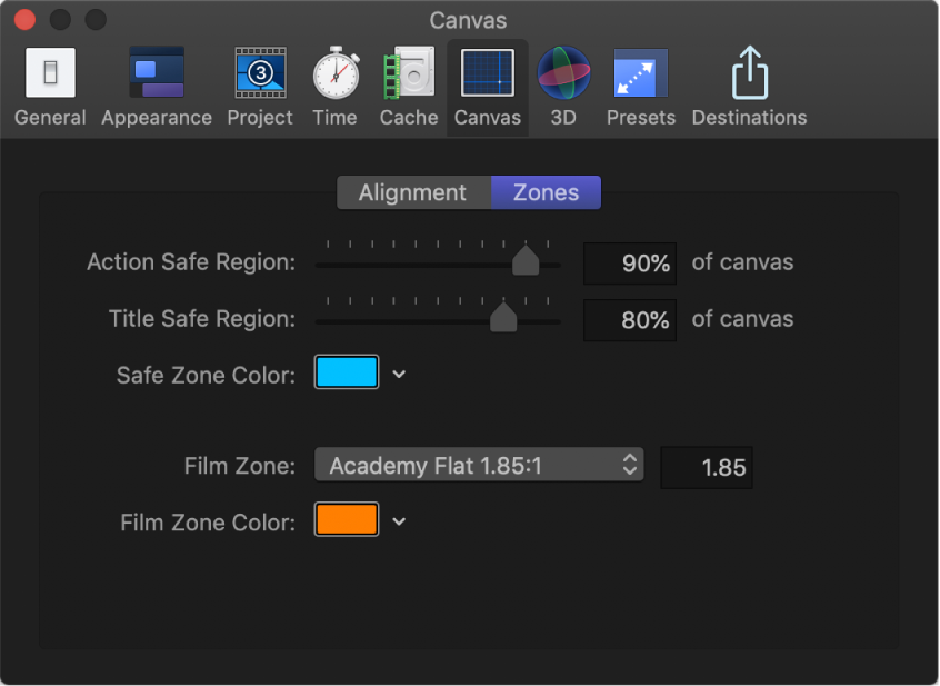 Motion Preferences window showing Canvas Zones pane