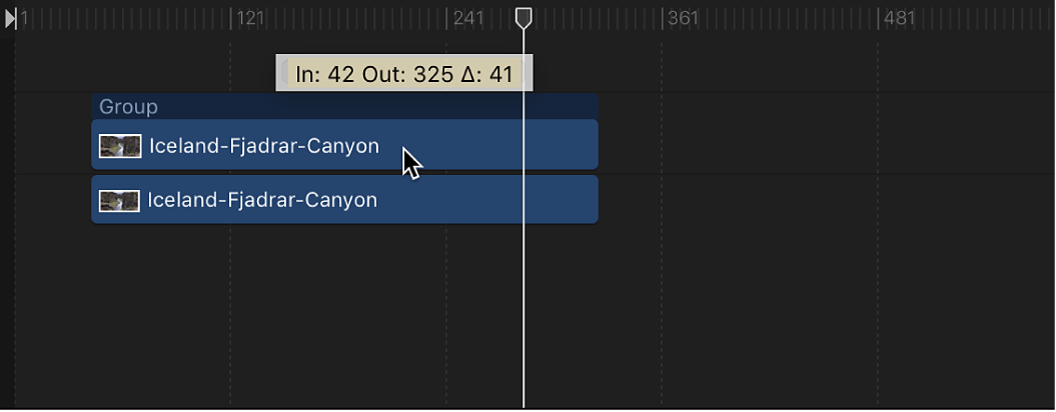 Timeline showing an object being moved in time