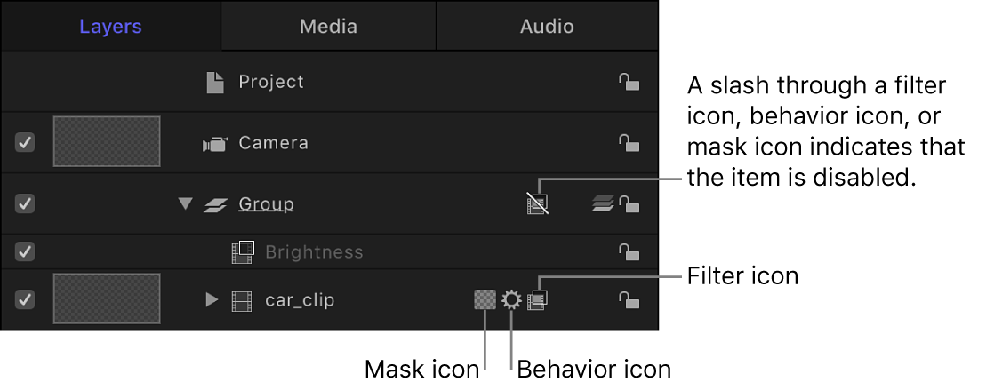 Layers list showing mask, behavior, and filter icons