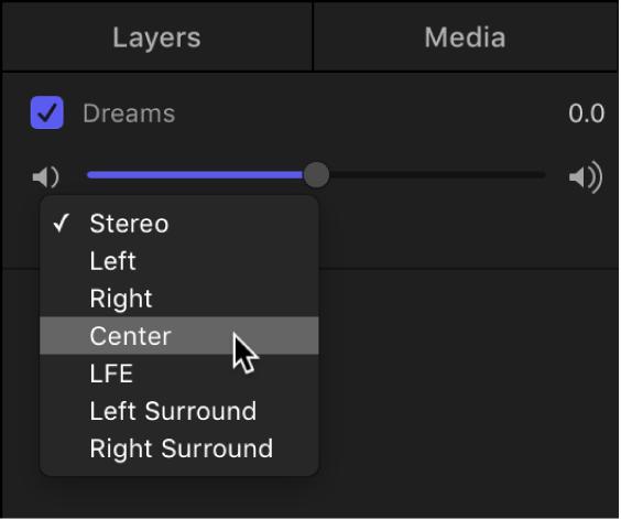 Audio list showing a track's output channel pop-up menu