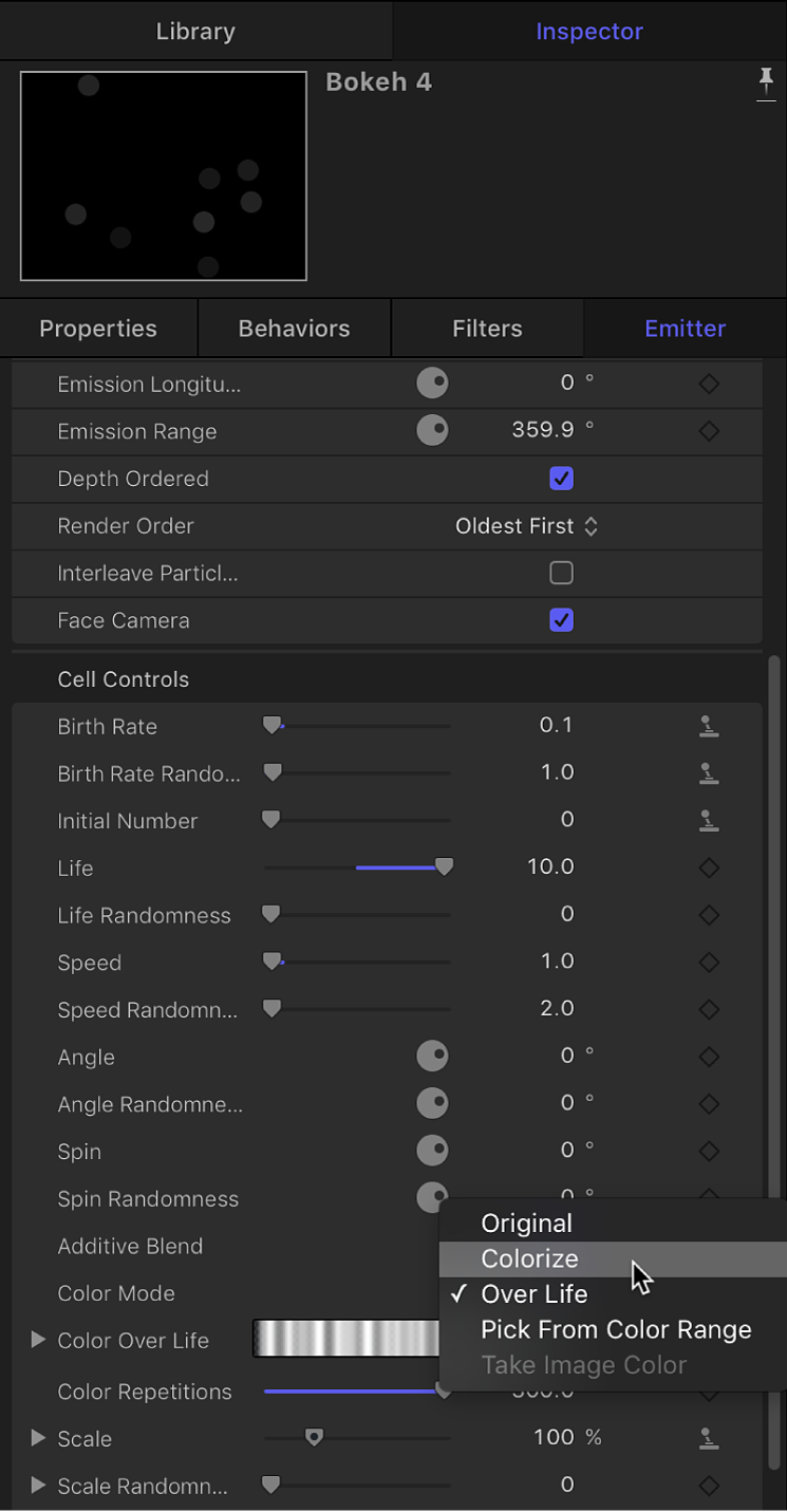 Choosing Colorize from Color Mode pop-up menu in Emitter Inspector