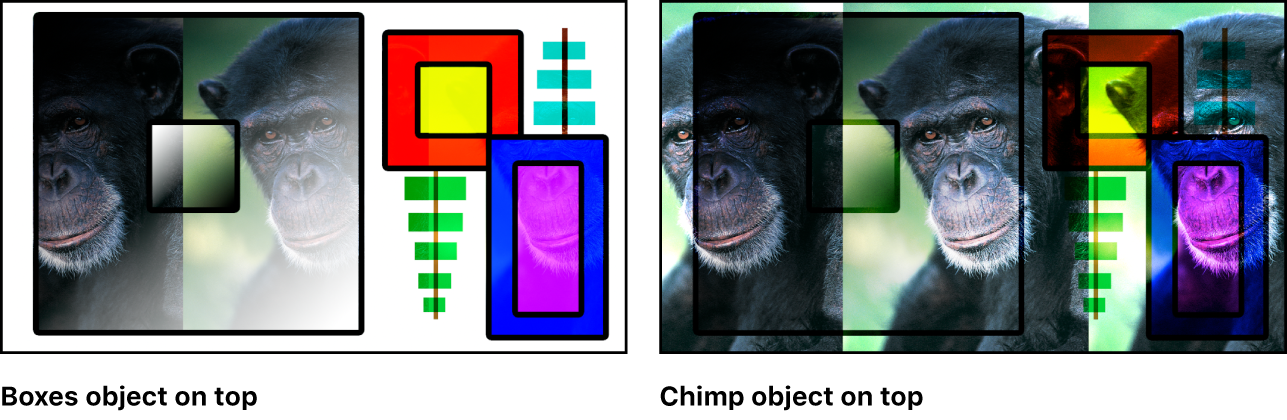 Canvas showing the boxes and the monkey blended using the Hard Light mode
