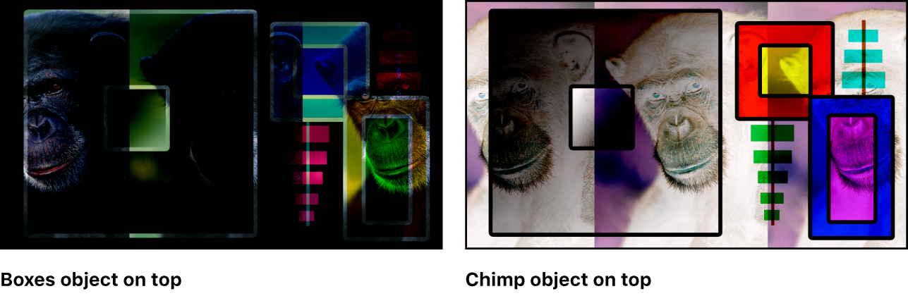 Canvas showing the boxes and the monkey blended using Subtract blend mode