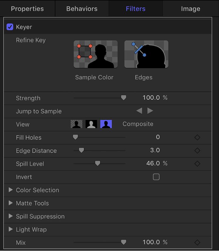 Parameters in the Keyer filter