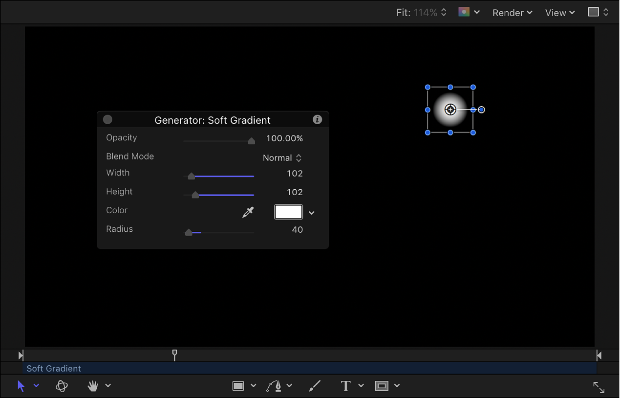 Canvas and HUD showing Soft Gradient generator scaled down