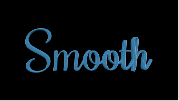 3D text in the canvas with an applied Smooth Paint layer