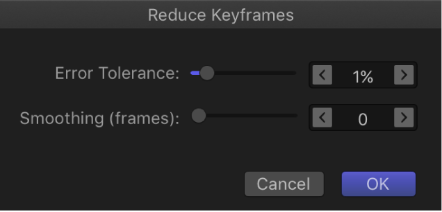Reduce Keyframes dialog