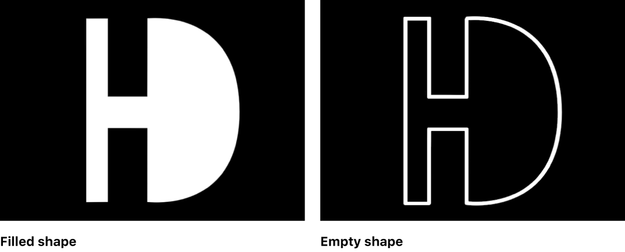 Canvas showing filled shape and empty shape